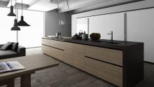 Artematica olmo tattile kitchen in an island configuration with tower units.