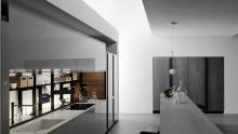 Valcucine: Logica Celata collection represented in a kitchen configuration.