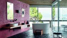 Flat XL Programme using Immersion vessel washbasin and Immersion freestanding bathtub. Fez taps and Dot line accessories.