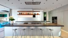 Valcucine Artematica kitchen shown from countertop seating of island.